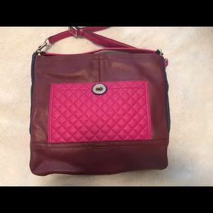 Pink and Navy color block quilted coach hobo bag